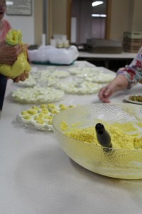 deviled eggs being made